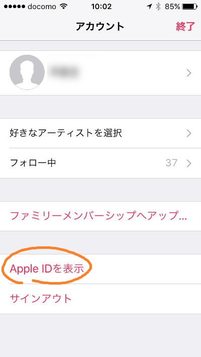 iOS Music view appleid