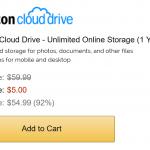 【激安】容量無制限のAmazon Cloud Driveが1年間たった5ドルで使える期間限定セール中
