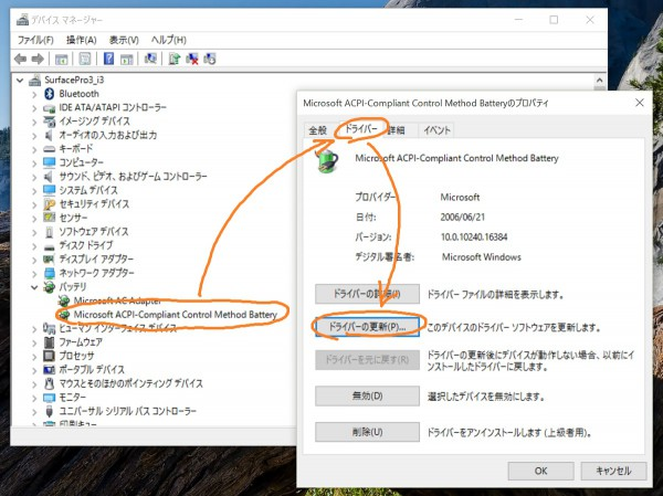 Windows 10 device manager - battery driver property