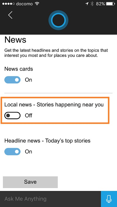 Cortana - turn on local news