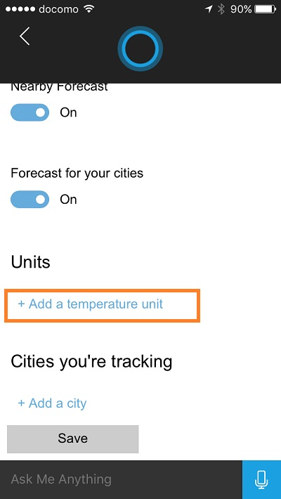 Cortana - change temperature unit 3