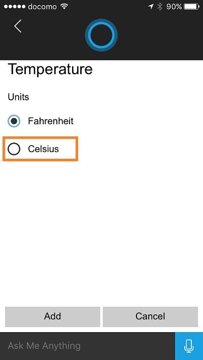 Cortana - change temperature unit 6