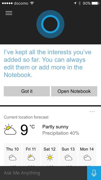 Cortana - change temperature unit 7