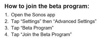 How to join SONOS beta program