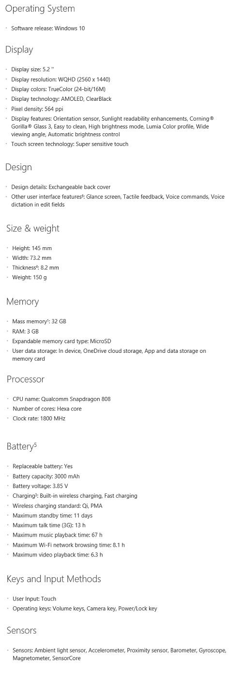Lumia 950 spec