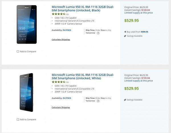 B&H Lumia 950 XL sale