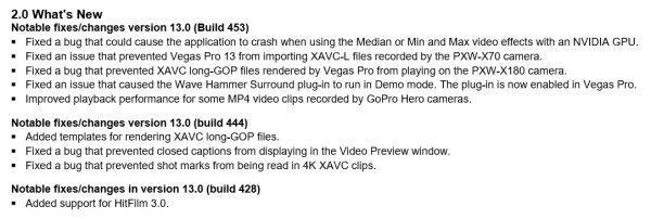 Vegas Pro 13 change log