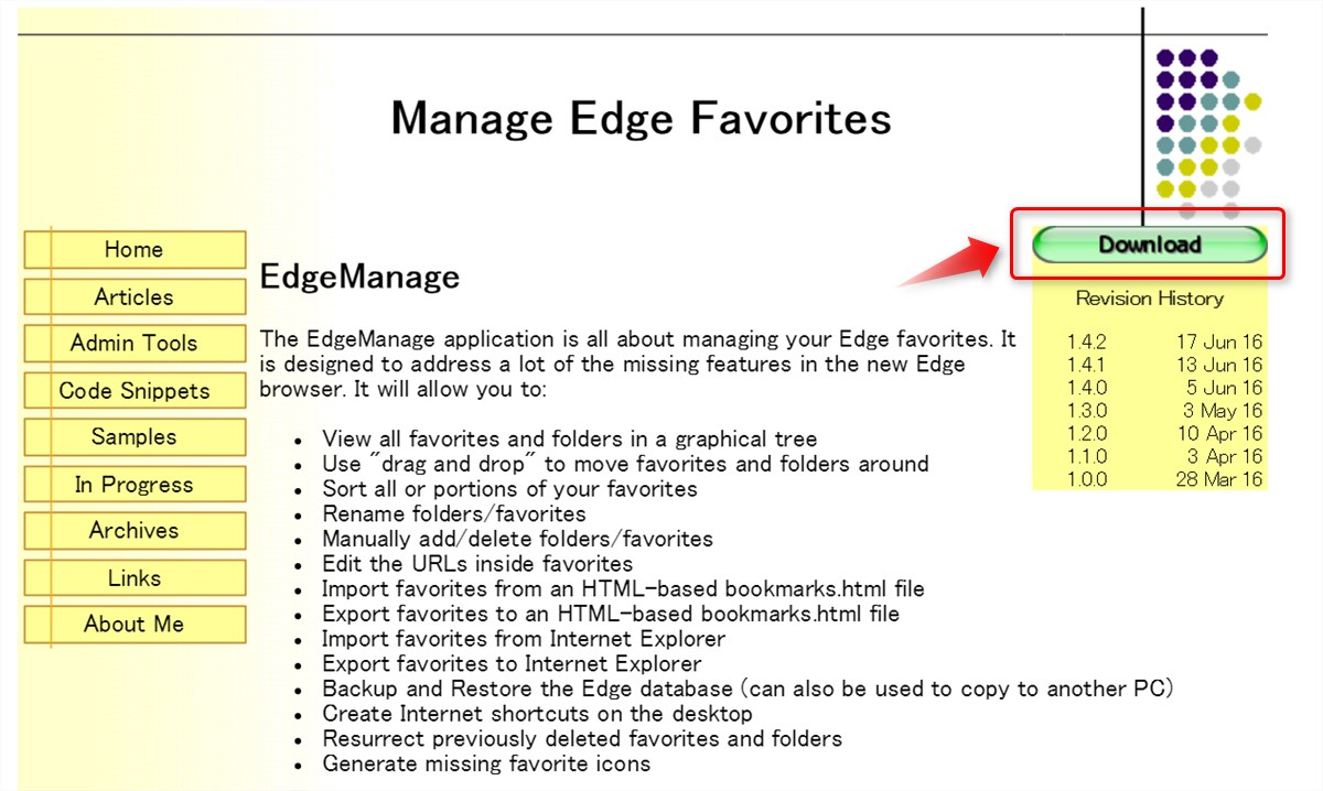 Manage Edge Favorites - 1