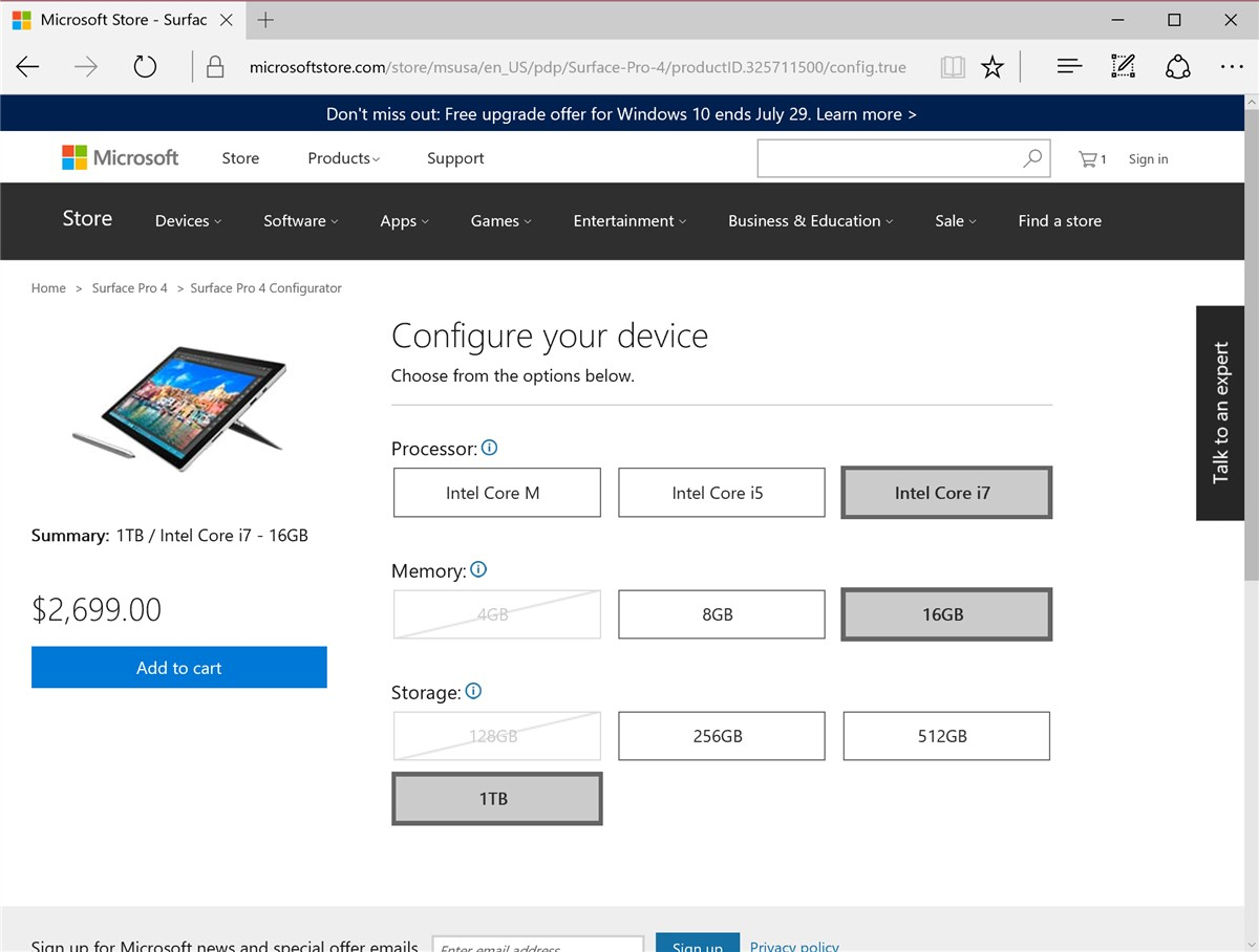Surface Pro 4 1TB model
