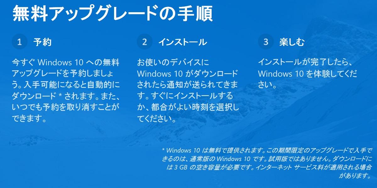 Windows10 無償アップグレード
