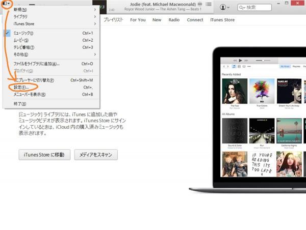 Open iTunes Settings menu