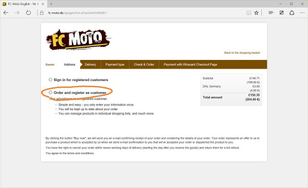 FC-Moto existing customer or register as new one