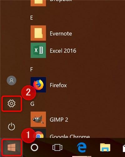 Start menu - gear