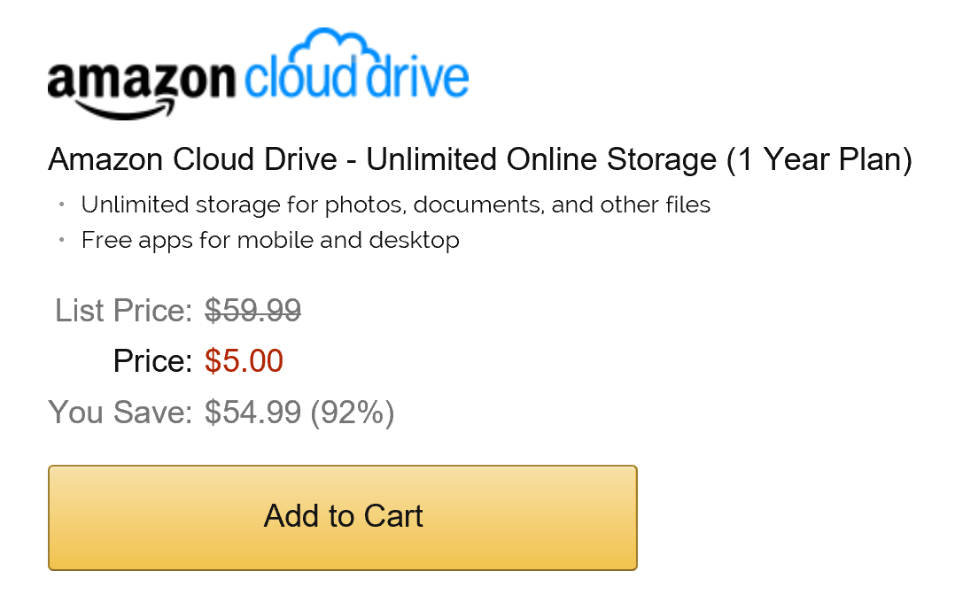 Amazon Cloud Drive only for 5 dollars