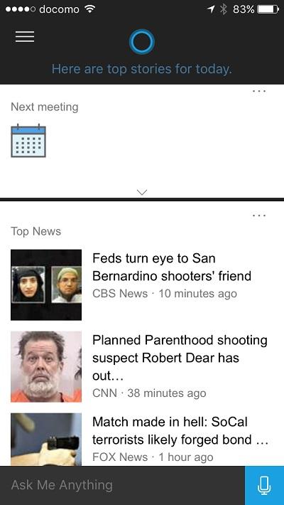 Cortana - schedules and news