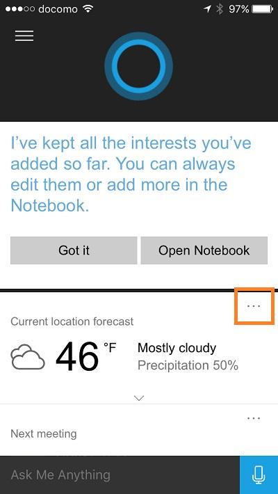 Cortana - change temperature unit 1