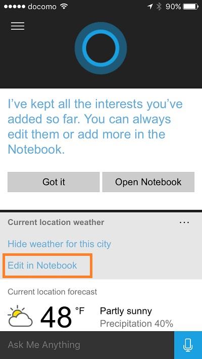 Cortana - change temperature unit 2