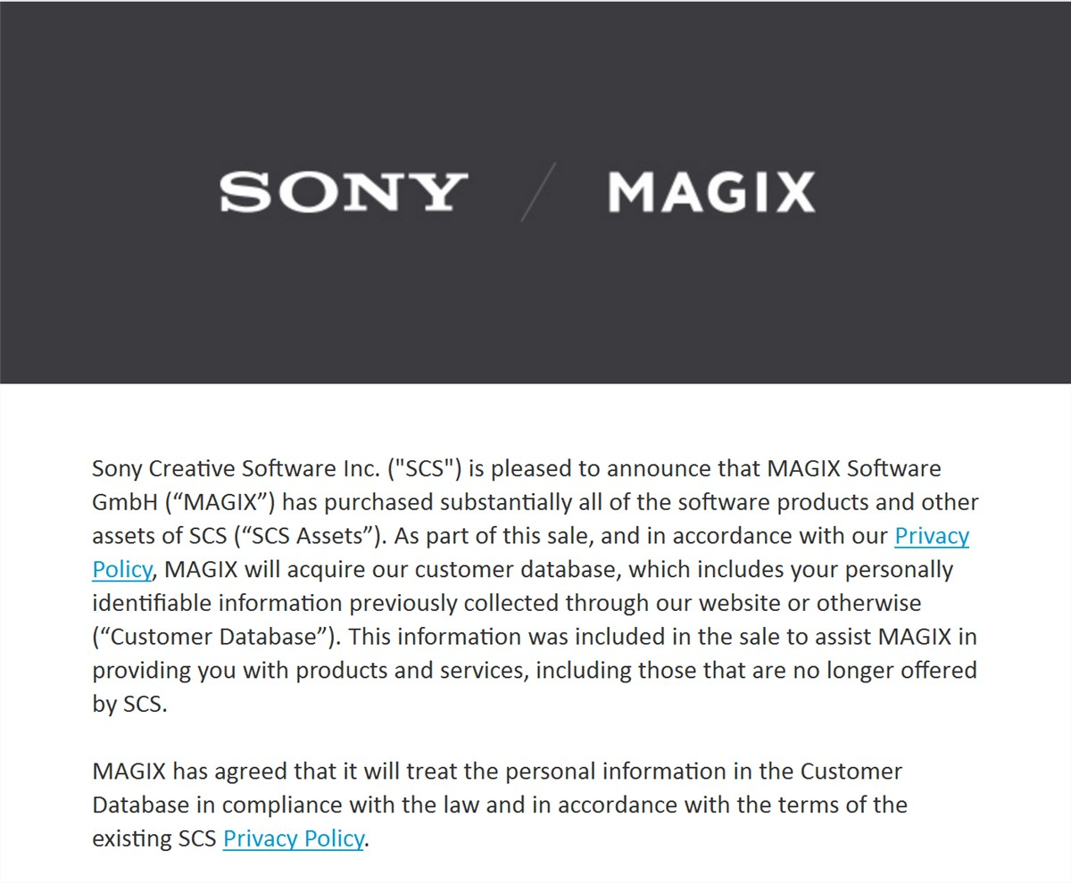 Sony vegas products  sold to magix software