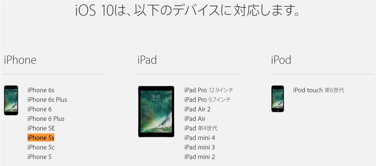 iOS 10 support devices