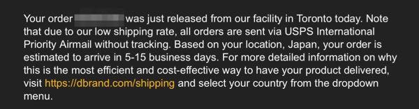 dbrand shipping notification