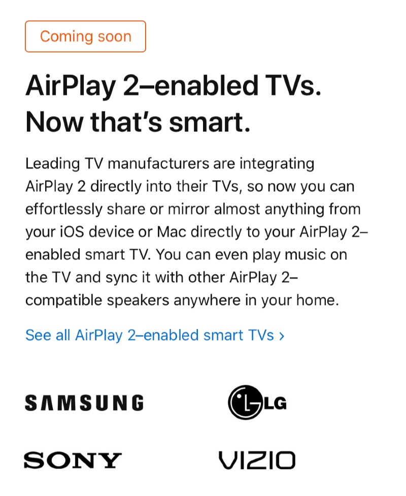 AirPlay 2 integrated TV - 2