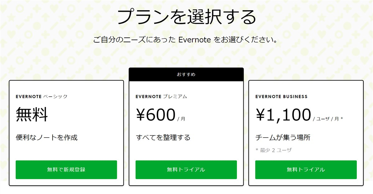 Evernote price table